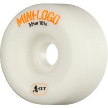 Mini Logo Skateboard Wheel A-cut 55mm 101A White 4pk