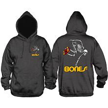 Powell Peralta Skateboarding Skeleton Hooded Sweatshirt Charcoal
