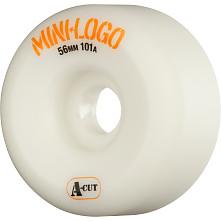 Mini Logo Skateboard Wheel A-cut 56mm 101A White 4pk