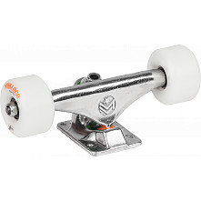 "Mini Logo 7.63"" Rough Polished Trucks + ML Bearings + A-cut 53mm x 90a White Wheels"