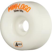 Mini Logo Skateboard Wheel A-cut 52mm 101A White 4pk