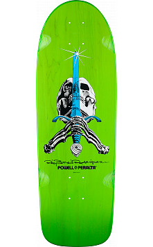 Powell Peralta Rodriguez Skull and Sword OG Skateboard Deck Green - 10 x 30