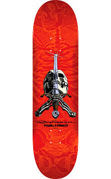 Powell Peralta Rodriguez Skull and Sword Skateboard Deck Red - Shape 243 - 8.25 x 31.95