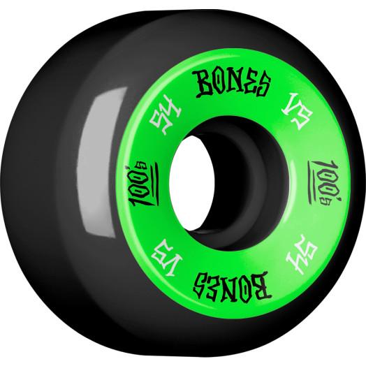 BONES 100's 54x31 V5 Skateboard Wheel 100A Black 4pk