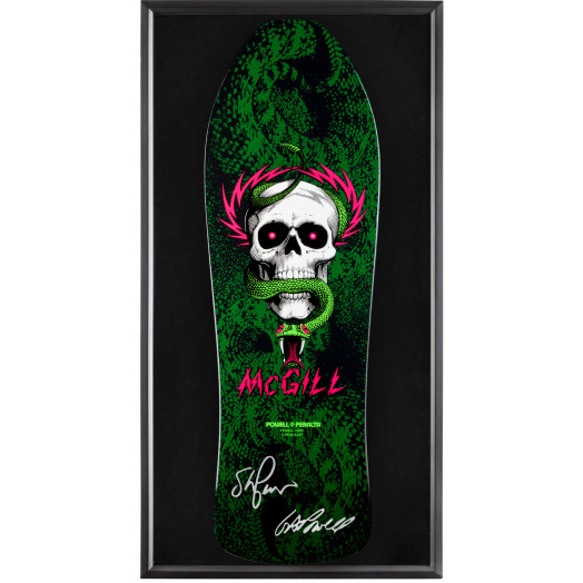 Bones Brigade® Shadowbox McGill Blem Skateboard Deck Signed by George Powell and Stacy Peralta