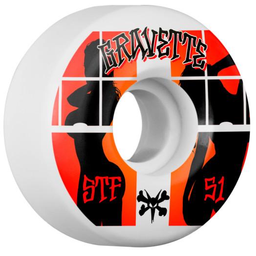BONES WHEELS STF Pro Gravette Peeps Skateboard Wheel V2 51mm 103A 4pk