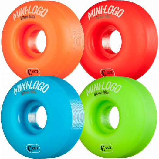 Mini Logo Skateboard Wheel C-cut 52mm 101A Assorted 4pk