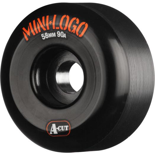 Mini Logo Skateboard Wheel A-cut 58mm 90A Black 4pk