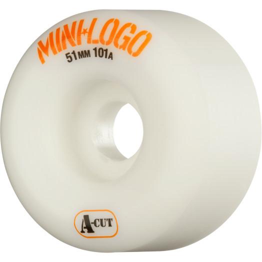 Mini Logo Skateboard Wheel A-cut 51mm 101A White 4pk