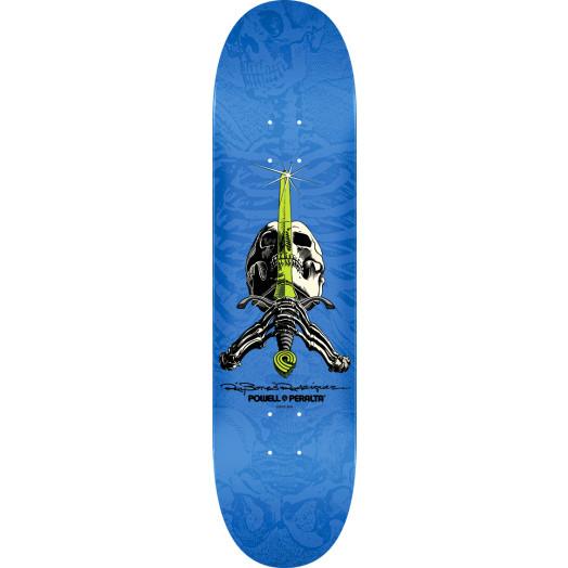 Powell Peralta Rodriguez Skull and Sword Skateboard Blem Deck Blue - Shape 242 - 8 x 31.45