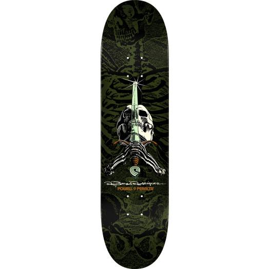 Powell Peralta Rodriguez Skull and Sword Skateboard Deck Green - Shape 246 - 9 x 32.95