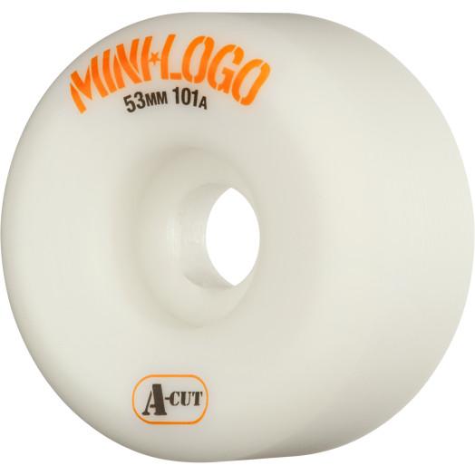 Mini Logo Skateboard Wheel A-cut 53mm 101A White 4pk