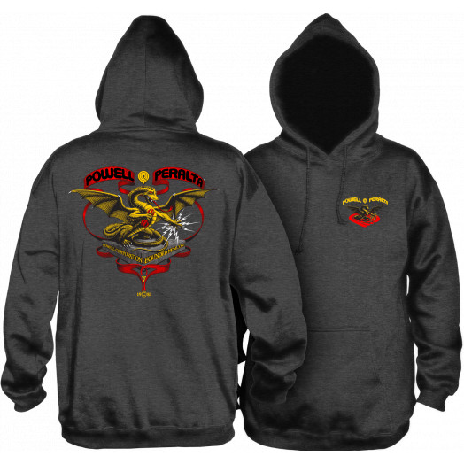 Powell Peralta Banner Dragon Hooded Sweatshirt Charcoal