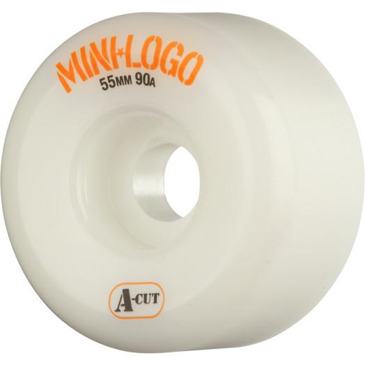 Mini Logo Skateboard Wheel A-cut 55mm 90A White 4pk