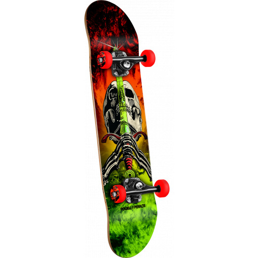Powell Peralta Skull and Sword Storm Complete Skateboard Red/Lime - 7.5 x 31