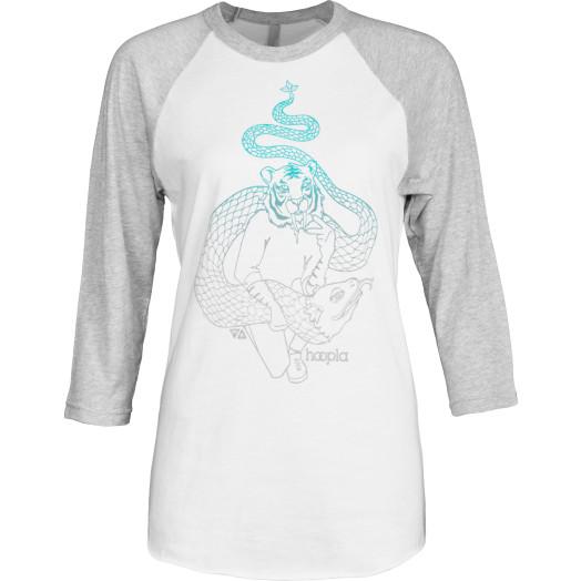 hoopla Tiger Raglan 3/4 Sleeve Shirt - White/Grey