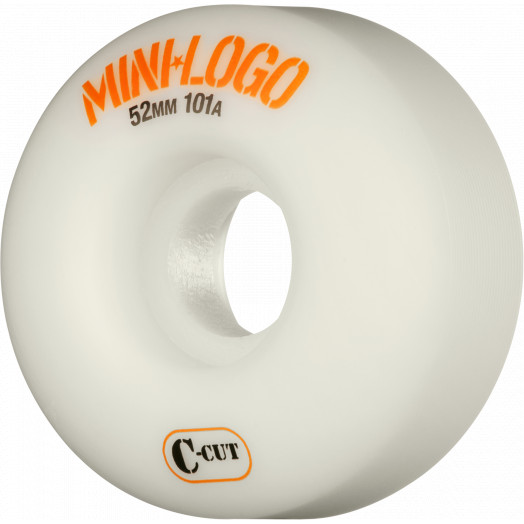 Mini Logo Skateboard Wheel C-cut 52mm 101A White 4pk